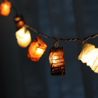 20 x oriental paper brown classic elegant color string light strand patio bedroom living room night light lantern