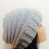 Grey Hand Knit Hat,Slouchy Women Hat, Wool Beret, Knit Beret, Oversized Hat, knitted chunky knit accessory