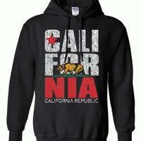 California Republic Vintage Retro Text Hoodie by DSC - Ash Small