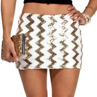 GoldIvory Chevron Sequin Mini Skirt