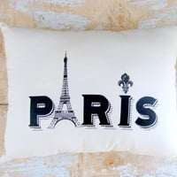 Paris Pillow, Eiffel Tower, French Country Home, Cottage Decor, Paris Decor | Luulla