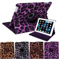 HDE Leather Rotating Leather Folding Folio Case Cover & Stand for iPad 2/3/4 Tablet (Purple Leopard Print)