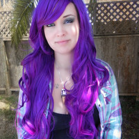 HAPPY HOLIDAYS SALE / Illicit Dreams / Purple and Neon Violet / Long Curly Layered Wig Mermaid Hair Lolita Natural Scalp Piece