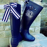 Navy Matte Boot with Striped Custom Bow