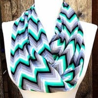 Gray And Emerald Green Chevron Infinity Scarf