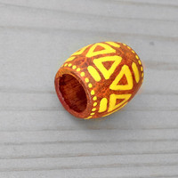 Orange Dreadlock Bead Tribal Hair Bead - Wood Hand Painted Hair or Jewelry Bead - Orange Dread Bead