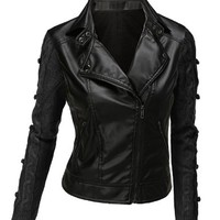 Doublju Women's Sweater Sleeve Faux Leather Moto Jacket