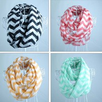 Hot Women Infinity Chevron Zig Zag Block Circle Double Loop Wrap Scarf Scarves