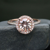 Single Halo 14k Rose Gold 8mm Morganite Round and Diamonds Wedding or Engagement Ring (Choose color and size options at checkout)