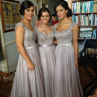 Lace Bridesmaid Dresses Satin Chiffon Bridesmaid Dresses See Through Back Bridesmaid Dresses Prom Dresses Party Dresses 2014 New Fashion