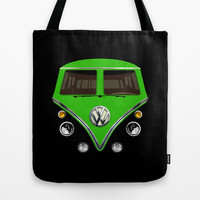 Bright green VW volkswagen mini van mini bus kombi camper illustration Tote Bag by Three Second