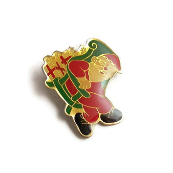 Vintage Santa Clause Christmas Pin Christmas Brooch Santa Pin Enamel Brooch Christmas Gift Old Saint Nick