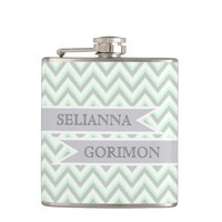 Modern chevron grey, mint wedding personalized flask