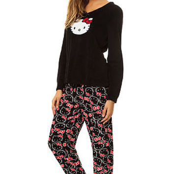The Bow Print Footie PJ in Black & Red