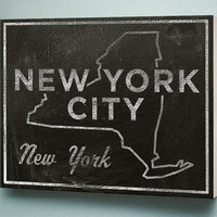 New York Chalkboard Print Wood Art