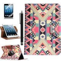 Pandamimi ULAK(TM) 360 Rotating PU Leather Stand Card Holder Case Cover with Auto Sleep/Wake Function for Apple iPad Mini 7.9 Inch (not suit for ipad mini 2) with Stylus and Screen Protector (Pattern-BOLD)