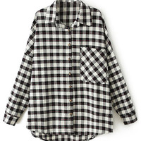 ROMWE Furry STRIKE Checkered Long-sleeves Black Shirt