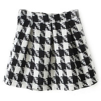 ROMWE Zippered Houndstooth Pleated Skirt
