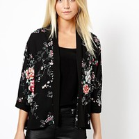 New Look Oriental Print Chiffon Jacket