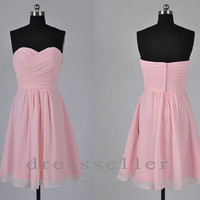 Short Pink Sweetheart Strapless Cheap Bridesmaid Dress Homecoming Dress/Party Gown Formal Prom Dress Wedding Party Dresses Bridesmaid Dress