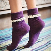 Free People Womens Rodeo Foldover Anklet - Purple, One