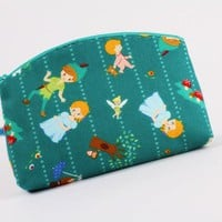 Big rounded zipper purse Peter Pan on emerald green by octopurse