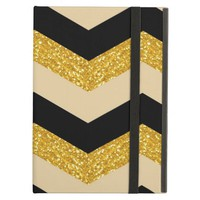 Black, Gold & White Chevron iPad Air Case