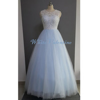 Long Ivory Lace Sky Blue Wedding Dress Lace Reception Dress Lace Prom Dress White Graduation Wedding Party Dress Custom Bridal Gown 2014