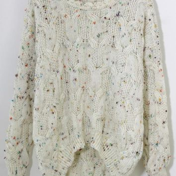 White Cable Knit Asymmetric Sweater with All Over Dots