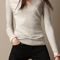 Cashmere Cotton Check Detail Sweater