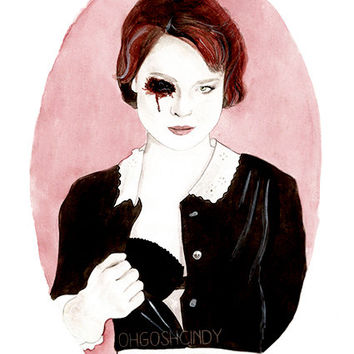 Moira O'Hara watercolour illustration portrait PRINT American Horror Story AHS Alexandra Breckenridge