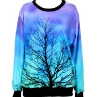 Pandolah Neon Galaxy Cosmic Colorful Patterns Print Sweatshirt Sweaters