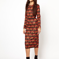 Glamorous Midi Dress In Baroque Folk Print