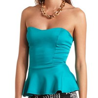 BACK BOW STRAPLESS PEPLUM TOP