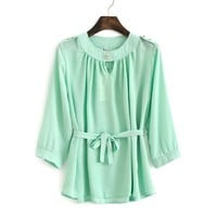 Chiffon Shirt Tops and Blouses Clothing for Women Style Cute Korean Fashion Elegant Golden Button Three Quarter Long Sleeve Sashes Pleated Shirt Women Mint Green Size S
