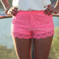 TWEE LACE SHORTS , DRESSES, TOPS, BOTTOMS, JACKETS & JUMPERS, ACCESSORIES, 50% OFF SALE, PRE ORDER, NEW ARRIVALS, PLAYSUIT, COLOUR, GIFT VOUCHER,,SHORTS,Pink,LACE Australia, Queensland, Brisbane