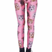Romwe Women's Different Kinds Of Cute Cat Heads Patterns Print Polyester Leggings