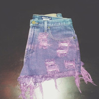 High Waisted Ombré Dyed Denim Shorts WAIST SIZE 29'