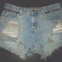 High Waisted Distressed Studded Denim Shorts WAIST SIZE 29""