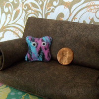 OOAK Plushie Pillow Friend - Dollhouse Miniature Home Decor - One Inch Scale Contemporary Plush
