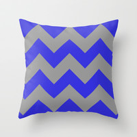 Chevron Navy Throw Pillow by Alice Gosling