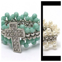 ONLY ONE of Each Color Left: Crystal cross turquoise or Ivory pearl band stretch ring