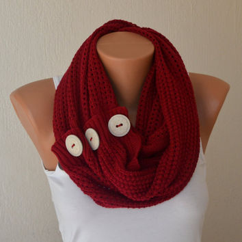 Infinity Scarf With Buttons Knitting Pattern : Red knit button infinity scarf circle from bstyle on Etsy ...
