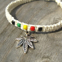 Rasta Hemp Bracelet with Marijuana Leaf Charm by hempCRAFT on Etsy