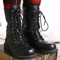 10 Hole Punk Rock Biker Engineer Vegan Faux Leather Boots Maroon Black (solid)