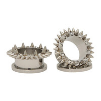 Steel CZ Outer Spike Spool Plug 2 Pack