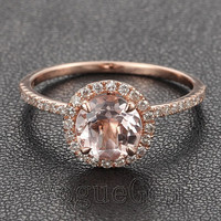 VogueGem Solid 14K Rose Gold VS 7mm Morgnite Pave Diamond Claw Prongs Engagement Wedding Ring