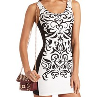 SCROLL PRINT BODY-CON TANK DRESS