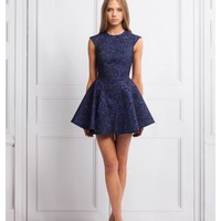 KEEPSAKE Another World Dress NAVY LACE JACQUARD