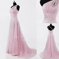 pink prom dress, long prom dress, chiffon prom dress, long formal prom dress, one shoulder prom dress, cheap prom dress,RE152